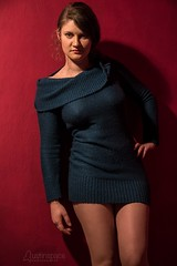 Alexa (austinspace) Tags: woman portrait spokane washington redroom alienbees studio sweater dress hosiery