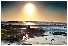Father and Child (juliewilliams11) Tags: beach shore landscape seaside sea coast photoborder outdoor water ocean sky sun waves dog people sand footprints cokinfilter zpro gnd