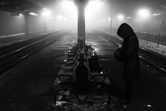 Dancer in the dark (Lev Maglev) Tags: cold winter trainstation girl alone lights night bench rails travel journey