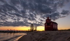Evening Fishing..... (Kevin Povenz Thanks for the 2,900,000 views) Tags: 2016 june kevinpovenz westmichigan ottawa ottawacounty holland hollandstatepark lakemichigan lighthouse lighhouse beach water shoreline lakeshore sunset evening clouds canon7dmarkii sand