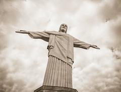 Welcome, Pilgrim! (Rice Bear) Tags: brazil christtheredeemer corcovado cristorendentor riodejaneiro rio statue blackandwhite clouds pano panorama blackwhite