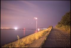 (✞bens▲n) Tags: pentax lx mamiya 50mm f2 film slide provia 100f japan shizuoka beach ocean night longexposure dark fireworks water light reflection