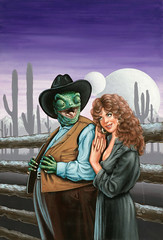Ex-Chameleon, Magazine of Fantasy and Science Fiction, May 1986 by Jill Bauman (Tom Simpson) Tags: scifi scifiart sciencefiction illustration painting art vintage exchameleon magazineoffantasyandsciencefiction 1986 jillbauman 1980s lizard western woman chameleon fence cowboy