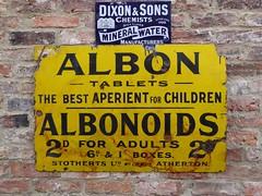 Vintage Vitreous Enamel Signs (Terry Pinnegar Photography) Tags: beamish museum countydurham sign advertisement vitreous enamel metal vintage edwardian antique albon albonoids aperient constipation tablet