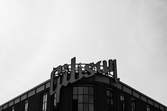 gibson (mattchez) Tags: nikon nikkor d800 dslr gibson gibsonguitars factory sign building bw blackandwhite memphis tennessee f14g 50mm