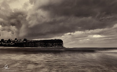 Clouded (Seany99) Tags: clouds monavale sydneysnorthernbeaches seascape longexposure headland sydney nsw australia bw niksilverefex