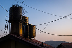 On the Rooftop (Ash and Debris) Tags: tank sunset street water city shimla watertank dusk stairs ladder wires india top roof sky rooftop urban light wire