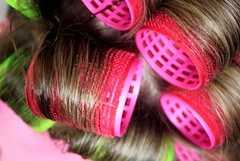 Efforts for beauty (wenmft) Tags: curlers rollers hair hairstyle beauty coiff style woman pink