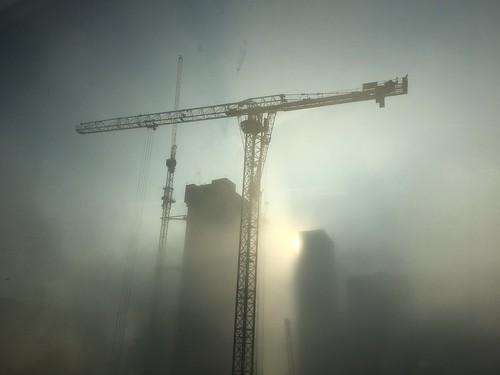 Fog and smog - Canary Wharf, London December 2016