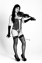 The violin (bobduffydlk) Tags: light portrait blackandwhite bw sexy girl beauty pose studio model pretty shadows legs pentax knickers fineart lingerie gloves bow highkey kx  bobduffydlk