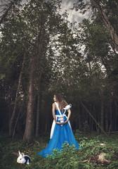 Her name is Alice- (Mila Photographie) Tags: wood bunny cup beautiful fashion hair kid dress time tea alice levitation disney late wonderland