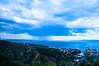 Stormy cloud over the  island of Krk (Tomislav C.) Tags: morning blue sea summer sky storm rain clouds landscape bay landscapes boat dock gulf croatia clear shipyard adriatic rijeka kvarner