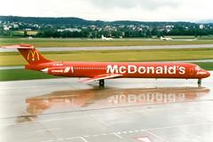 Crossair | McDonnell Douglas MD-83 | HB-IUH | McDonald's livery | Zurich Kloten (Dennis HKG) Tags: plane airplane airport swiss aircraft zurich mcdonalds crx lx kloten zrh mcdonnelldouglas planespotting crossair md80 md83 lszh hbiuh