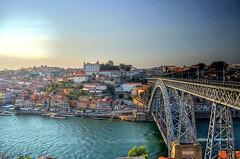 Saudade Do Porto II (Erre Taele) Tags: old bridge sunset portugal river puente atardecer town europa europe o porto hdr oporto zubia ibaia ría ilunabarra