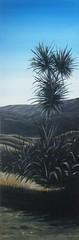 Dusk Cabbage Tree (tracy macdonald) Tags: abstract art clouds flora artist acrylic scene tracy hills canvas foliage cabbagetree acrylicpainting flax affordable cabbagetrees harekeke newzealandartist northernwalkway tracymacdonald
