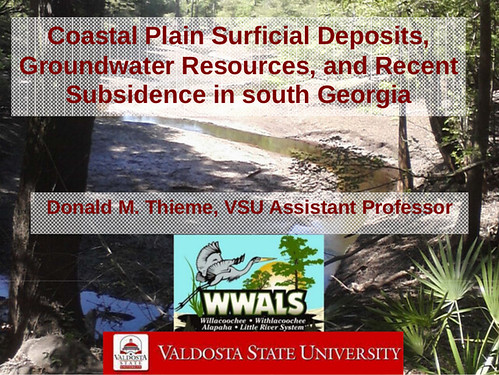 "Coastal Plain Surficial Deposits, Groundwater Resources, and Recent Subsidence in south Georgia by Prof. Donald M. Thieme @ VSU for WWALS 2013-10-09 • <a style=""font-size:0.8em;"" href=""http://www.flickr.com/photos/85839940@N03/10671897233/"" target=""_blank"">View on Flickr</a>"