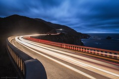 Northbound Vs. Southbound (Silent G Photography) Tags: california ca longexposure nightphotography travel bridge nikon bigsur wideangle pch highway1 pacificocean adobe carmel lighttrails bluehour nikkor centralcoast bixby d800 bixbybridge pacificcoasthighway travelphotography cartrails 2013 niksoftware nikond800 nikkor1635 markgvazdinskas silentgphotography silentgphoto northbigsur