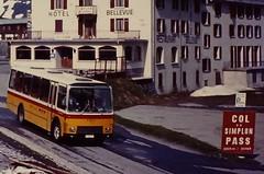 CH- SWITZERLAND 1983 (streamer020nl) Tags: 2005 schnee summer snow bus hotel schweiz switzerland sneeuw pass slide scan p 1983 helvetia pas wallis col bellevue ch ptt zwitserland simplon postbus 2005m