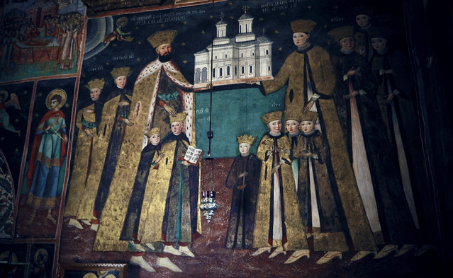 Constantin Brâncoveanu and family [mural from 1709 at Hurezi monastery]