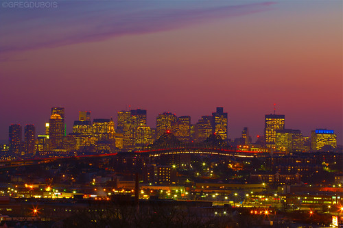 Sunset over Boston Skyline with Tobin Bridge Light Trails, Chelsea and Everett Foreground