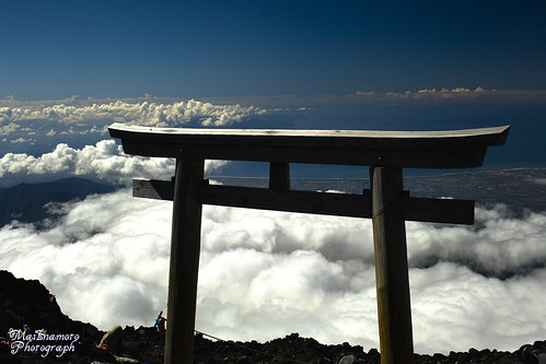Shrine gate above clouds - Mt.Fuji