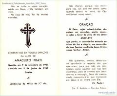 Lembrança Falecimento Anacleto 1967 Verso