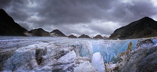 Blue ice is revealed as the glacier melts and washed amounts of till away