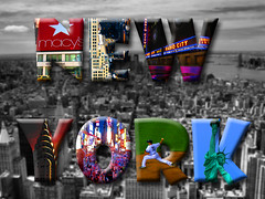 New York City Composite (tubblesnap) Tags: york city music holiday building yellow statue composite skyscraper radio buildings square liberty hall high baseball manhattan taxi text macys metropolis intersection times chrysler rise cabs yankees effect