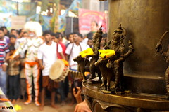 Still Life and action: Kubera statue on temple pillar ... (harshithjv) Tags: street stilllife india festival canon religious temple photography cultural dasara mangalore indianfestival 600d dusshera dussara hulivesha tigerdance canon600d