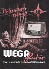 WEGA Radio Dealer Sheet Model Fox + Lux (W-Germany 1950)_1 (MarkAmsterdam) Tags: old classic sign metal museum radio vintage advertising design early tv portable colorful fifties arm ts