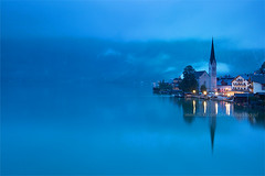 Hallstatt (baddoguy) Tags: city light reflection church horizontal dawn austria twilight dream tranquility atmosphere landmark calm copyspace hallstatt traveldestination