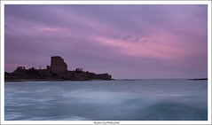 Atlit Fortress (alon_gutf) Tags: ocean sunset sea motion nature water clouds landscape israel twilight waves ruin fortress atlit