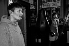 Candid portrait of boxing trainer/promoter Chris Sanigar with boxer Krystian Nadolski, in his Bristol gum (sophie_merlo) Tags: portrait blackandwhite bw black blancoynegro sports sport bristol blackwhite bn boxing chrissanigar krystiannadolski