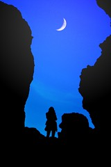 moonscape (Wackelaugen) Tags: blue sky moon canon person photography eos volcano photo spain europe tenerife minimalism sihouette teide moonscape