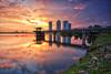 Putrajaya Dam at sunset (fiz_zero) Tags: blue sunset red sky orange sun building nature water yellow clouds reflections asian landscapes nikon asia skies dam sigma malaysia putrajaya sigma1020mm d7100 nikond7100