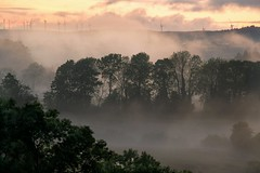Fire & Smoke (BKINLEY) Tags: trees sunset windmill fog landscape countryside nikon valley clogher 55300mm d3100