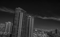 Tessellate, Vancouver (jpcastonguay) Tags: trees red sky blackandwhite bw cloud canada cold building tree tower skyline architecture vancouver clouds skyscraper buildings dark landscape ir blackwhite nikon soft downtown chinatown day cityscape bc skyscrapers angle bright noiretblanc britishcolumbia balcony hill nb east crisp condo edge highrise infrared daytime cypress tilt gastown citycentre eastvan tilted faint clearsky overview upwards hoya whisp darksky eastvancouver balconyview darkened infraredfilter infrarouge irfilter tessellate d5200 altj nikond5200 slysky