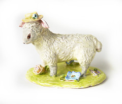 Mary's Little Lamb (Cynthia Cranes Art and Pottery) Tags: bird butterfly ceramic mouse sheep spoon mug pottery rooster teacup porcelain frenchfaience cynthiacranepottery