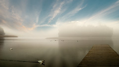 Lake in the fog. (augustynbatko) Tags: lake fog mist nature view sky clouds