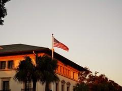 By dusk's last light... (www.yashicasailorboy.com) Tags: flag america building amelia dusk