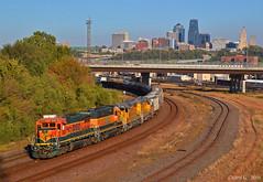 "Westbound Transfer in Kansas City, KS (""Righteous"" Grant G.) Tags: bnsf railway railroad locomotive train trains west westbound up union pacific ge emd power transfer yard job freight manifest kansas city"