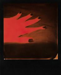 Agent Orange #2 (Josu Sein) Tags: polaroid analog selfportrait nude sex mystery surrealism expressionism impossibleproject humanbody duochrome