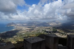 (Giramund) Tags: sicily italy erice sea castle landscape shadow clouds hill rampart