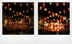 Blossom Plaza Nights (tobysx70) Tags: the impossible project tip polaroid sx70 instant color film for type cameras impossaroid roidweek roid week polaroidweek fall autumn october 2016 blossom plaza nights broadway chinatown dtla downtown los angeles la california diptych apartment building courtyard lights chinese lanterns illuminated night nocturnal bokeh outoffocus oof day6 toby hancock photography