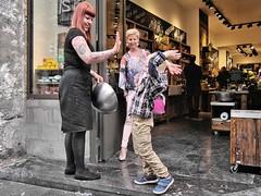 gimme five...or  ten ! (gerhardkrsgen) Tags: boy women street candid colour antwerp belgium gerhardkoersgen decisivemoment meet greet