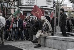 Communism (Memories of the Far East) Tags: portugal braga communism flag old man