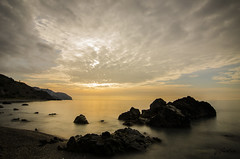 Playa de las alberquillas (J Fuentes) Tags: flickr save amanecer playa beach mlaga nubes cielo mar mediterrneo agua water sea clouds sky rocks rocas largaexposicin longexposure naranja orange maro nerja costa