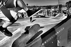 Flipping Take Off (Town Park Series), Oakland CA, Fall 2016. (j.m. gonzalez) Tags: lumixgvario olympus em5 skateboarding streetphotography oaklandskateboarding townparkskateboardpark oaklandca lifeisliving oaklandhistory