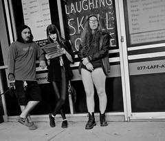 Interesting Trio (tvdflickr) Tags: atlanta georgia atlantageorgia usa street people group man woman male female comedy laugh sidewalk waiting photo photobytomdriggers thomasdriggersphotography photosbytomdriggers nikon d750 nikond750 blackandwhite