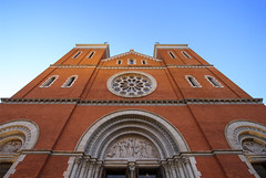 St Vincent's Archabbey facade (Lawrence OP) Tags: stvincents archabbey latrobe pennsylvania benedictine monastery brick stone tympanum towers
